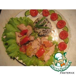 Рецепт Курица с персиками в сметанном соусе