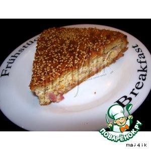 Рецепт Сырный пирог с ветчиной и плавленными сырками
