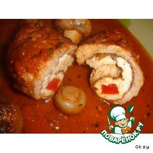 Рецепт Крученики с грибами и красным соусом