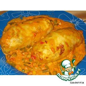 Рецепт «Голубчики» с куриной грудкой и овощами