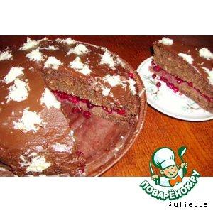 Рецепт Торт шоколадно-кокосово-брусничный
