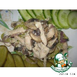 Рецепт Нежная куриная грудка с шампиньонами и овощами