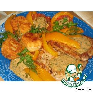 Рецепт Отбивные с жареной моцареллой и печеными овощами под сливочным соусом