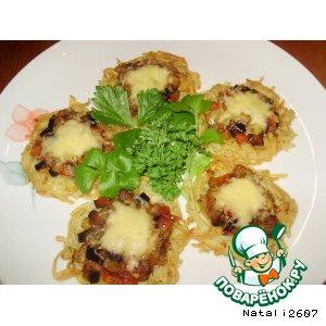 Рецепт Закуска «Картофельные хрустики с овощами и сыром»
