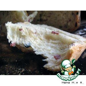 Рецепт Хлеб с копченым мясом, сыром, оливками и печеным чесноком