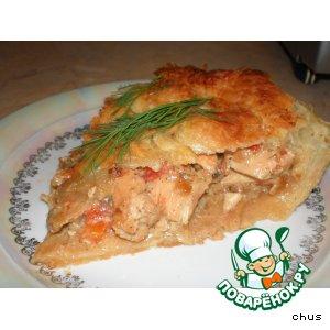 Рецепт Слоеный пирог с курицей и грибочками