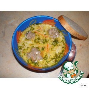 Cheese soup with meatballs
