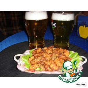Рецепт Закуска к пиву из морепродуктов