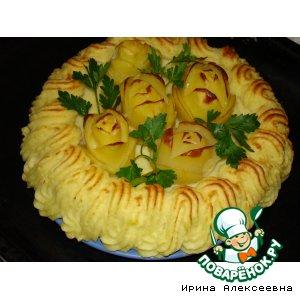 """Рецепт Картофельный торт дубль 2 или """"Картофельная корзина с розами"""""""