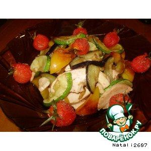 Рецепт Теплый салат с копченой курочкой