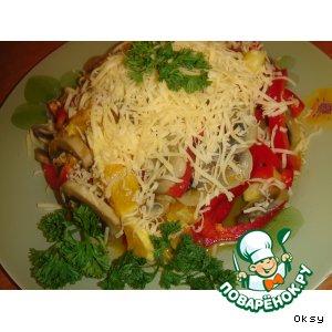 Рецепт: Салат из шампиньонов с апельсинами и сладким перцем