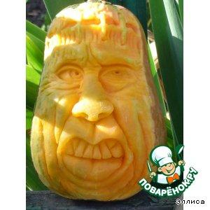 Рецепт Резная тыква-Франкенштейн-украшение к Хеллоуину