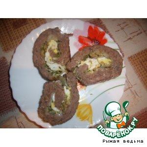 Рецепт Мясной рулет с яично-оливковой начинкой