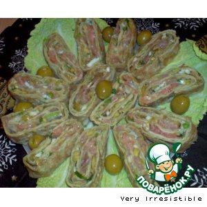 Рецепт Рулет из лаваша с рыбно-авокадной начинкой
