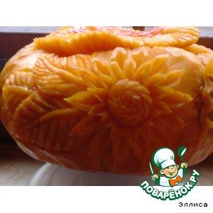 Рецепт Резной горшочек из тыквы для запекания