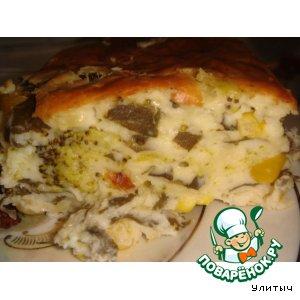 Рецепт Сырная запеканка со шпинатом, брокколи и консервированной кукурузой