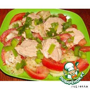 Рецепт Салат из печени минтая с помидорами