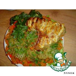 Рецепт Индюшиное крыло, запеченное с овощным гарниром
