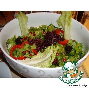 Рецепт Зеленый салат с грушей с медово-горчичным маринадом