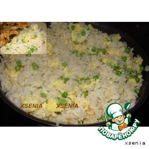 Рецепт Жаренный рис с зеленым горошком и яйцом