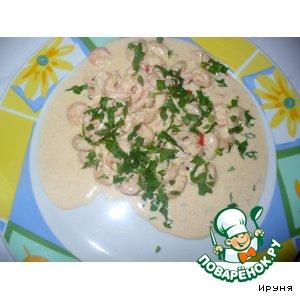 Рецепт Креветки в сырно-сливочном соусе