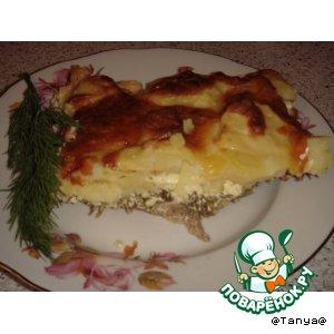 Рецепт Свинина с картошкой и зеленью под сметанным соусом