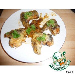 Рецепт Куриные крылышки в чесночном соусе с сыром