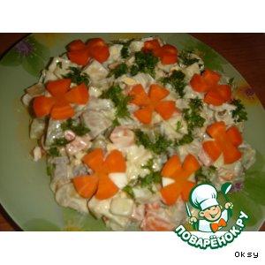 Рецепт Салат грибной с сельдью и овощами