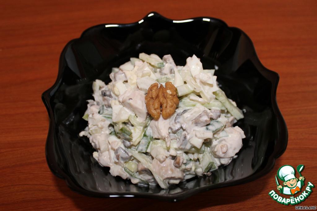Салат курица грибы огурец грецкий орех