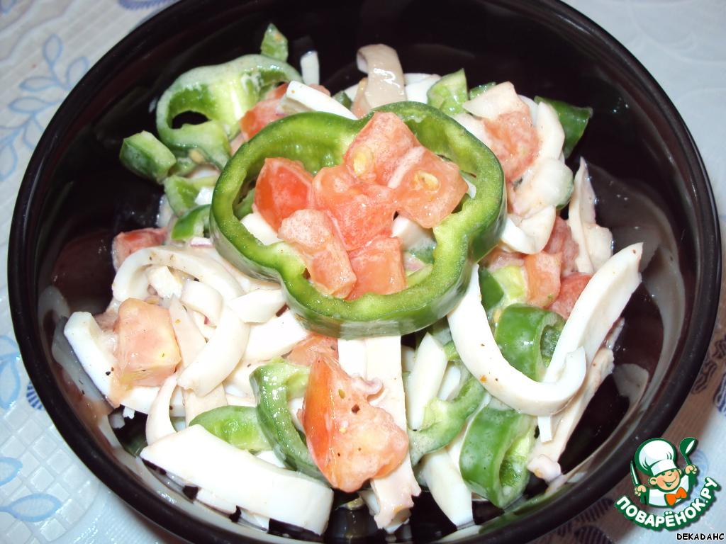 Рецепты салатов с кальмарами и болгарским перцем