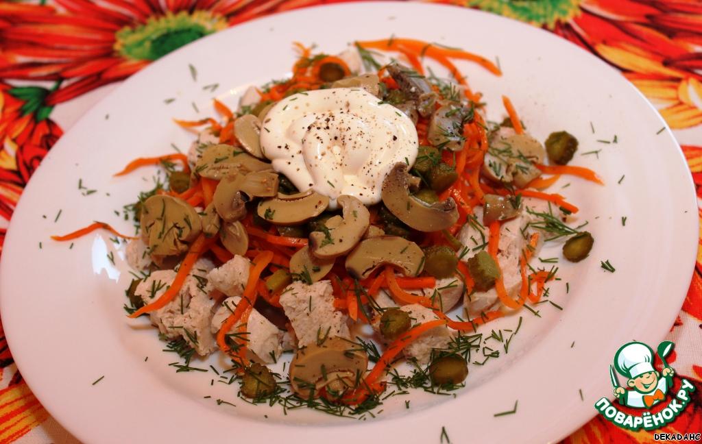 Салат с курицей и корейской морковкой и грибами рецепт