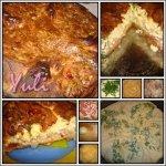 Французский пирог с сыром, зеленью и салом