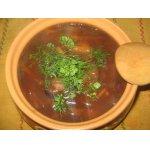 Постный борщ с грибами, фасолью и краснокочанной капустой