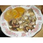 Рыба с апельсинами в горшочках