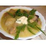 Суп-пюре из зеленого горошка с фрикадельками