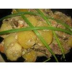 Картофель с печенью и грибами в рукаве