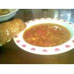 Суп на рыбном бульоне с гренками
