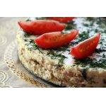 Сырный торт с ветчиной и грибами