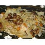 Картофель, запеченный с курицей и грибами