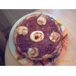 Пирог творожный с персиковым вареньем