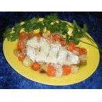 Гратэн из рыбы и овощей под соусом
