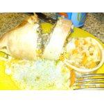 Кальмары, фаршированные рисом и ананасами