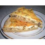 Песочный пирог с капустой, кабачком, грибами и укропом