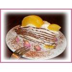Блинный шоколадный торт с персиковым кремом