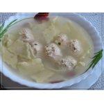 Суп с куриными клецками и домашней лапшой