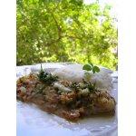 Лимонная рыба под орехово-хлебным штрейзелем