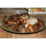Курица фаршированная печенью, грибами и луком со вкусом цитрусовых