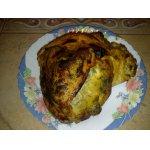 Индюшиная грудка, фаршированная кедровыми орехами, сыром и пореем
