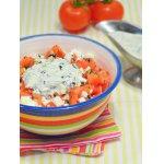 Салат из помидоров с соусом из редьки