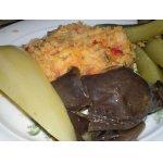 Гороховое пюре с копченой грудинкой и овощами